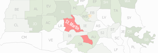 St. Martin County Map